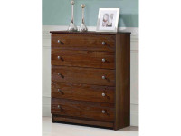 Rustic Brushed Pine 5 Drawer Chest - Chestnut
