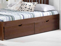 Rustic Brushed Pine Underbed Storage Drawers - Chestnut