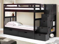 Solid Pine Staircase Bunk Beds Twin/Twin - Espresso