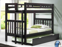 Solid Pine Bunk Bed with End Ladder Twin/Twin - Espresso