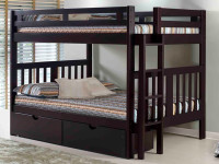 Solid Pine Bunk Bed with End Ladder Full/Full - Espresso