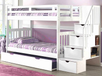 Solid Pine Staircase Bunk Beds Twin/Twin - White