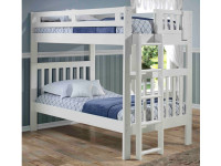 Solid Pine Bunk Bed with End Ladder Twin/Twin - White
