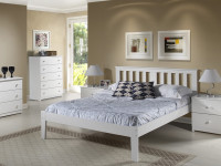 Solid Pine Slatted Platform Bed - White