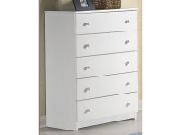 Solid Pine 5 Drawer Chest - Chalk