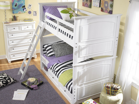 Twin Size over Twin Size. Ladder sets up left or right side. Shown with optional Under Bed Storage Drawers. Also available with Rolling Storage Trundle for twin size mattress or lots of storage. Buy the Low Profile Top Mattress and standard height bottom mattress at The Bedroom Source. It will be delivered same time as the bed with no extra delivery charge.  Special financing available.*