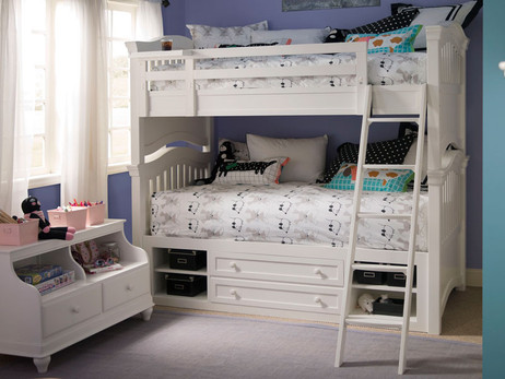 Twin Size over Twin Size. Ladder sets up left or right side. Shown with optional Under Bed Storage Drawers. Also available with Rolling Storage Trundle for twin size mattress or lots of storage. Buy the Top and Bottom Mattresses at The Bedroom Source. They will be delivered same time as the bed with no extra delivery charge.  Special financing available.*
