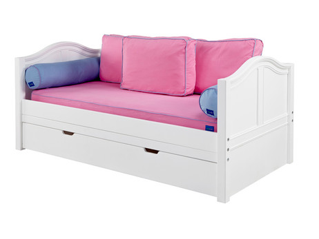 Twin Size in White with Curved Ends. Pictured with optional under bed trundle and side modesty panels. Front Guard Rail ( not pictured ) is included but can be deleted for older kids. Also available in Full Size and with storage drawers instead of trundle. Buy the Low Profile mattress at The Bedroom Source. It will be delivered same time as the bed. Special financing available.*