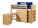 Shown in Twin Size with Straight Ladder, Pull-Out Desk and Bookcase on the end. Also available with Angled Ladder or Side Stairs and another 4 drawer chest on the end. Get the right height mattress at The Bedroom Source. It will be delivered with the bed at no extra delivery charge. Special financing available.*