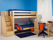 """Low Bunk with Stairs Left in Natural. Also available with angled ladder or straight ladder. 61"""" height good for low ceilings. Get the Top and Bottom Low Profile mattresses at The Bedroom Source. They will be delivered same time as the bed with no extra delivery charge. Special financing available.*"""