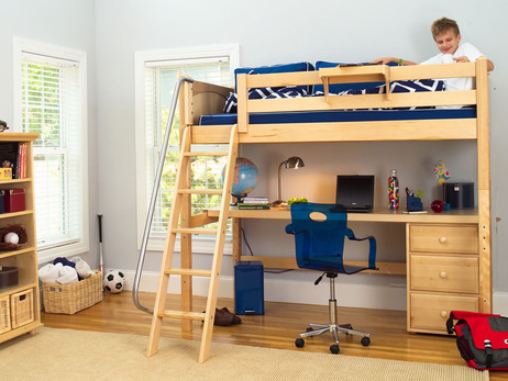 Twin Size High Loft in Natural with Angled Ladder and 3 Drawer unit under the Desk. Shown with Optional Hanging Bed Side Tray. Also available with Straight ladder or Side Stairs. Get the Mattress at The Bedroom Source. It will be delivered same time as the bed with no extra delivery charge. Special financing available*