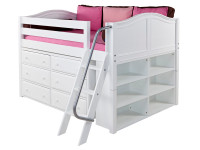 "The Maxtrix Low Loft has 32"" of clearance under the top bed. Pictured in white with curved ends, two 3 drawer chests and a side bookcase. One of many possible configurations. Shown in full size but also comes in twin size. Angled ladder can set up left or right. 80"" total length left to right. Get the low profile mattress at the Bedroom Source. It will be delivered same time as the bed with no extra delivery charge. Special financing available*"