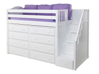 "The Maxtrix Mid Loft with Stairs has 44"" of clearance under the top bed. Pictured in white with two 4 drawer chests. One of many possible configurations. Shown in twin size but also comes in full size. Stairs can set up right or left side. 100"" total length left to right. Get the low profile mattress at the Bedroom Source. It will be delivered same time as the bed with no extra delivery charge. Special financing available*"