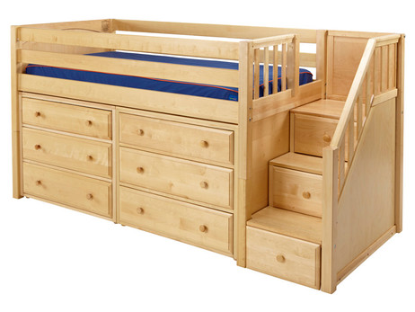 """The Maxtrix Low Loft with Stairs has 33"""" of clearance under the top bed. Pictured in natural with two 3 drawer chests. One of many possible configurations. Shown in twin size but also comes in full size. Stairs can set up left or right. 100"""" total length left to right. Get the low profile mattress at the Bedroom Source. It will be delivered same time as the bed with no extra delivery charge. Special financing available*"""