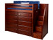 """The Maxtrix High Loft with Stairs has 52"""" of clearance under the top bed. Pictured in chestnut with two 5 drawer chests. One of many possible configurations. Shown in twin size but also comes in full size. Stairs can set up left or right. 100"""" total length left to right. Get the low profile mattress at the Bedroom Source. It will be delivered same time as the bed with no extra delivery charge. Special financing available*"""