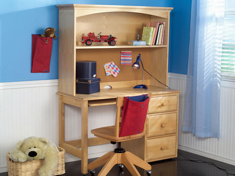Natural desk with drawers right. Hutch pictured with cork but hutch now has wood backing only. Pictured with matching Maxtrix chair and a hanging Maxpack in red with blue interior. Special financing available*