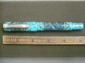 No Name Turquoise Cut Design Barrel Fountain Pen Stone in Clip