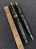 Early Parker Double Green Celluloid Jewel Vacumatic Fountain Pen & Pencil Set