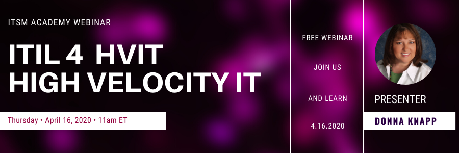 ITIL® 4 HVIT - High Velocity IT - Donna Knapp, ITSM Academy