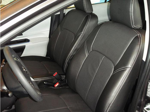 Prius C Clazzio Seat Cover Black / Black / Light Grey Stitching