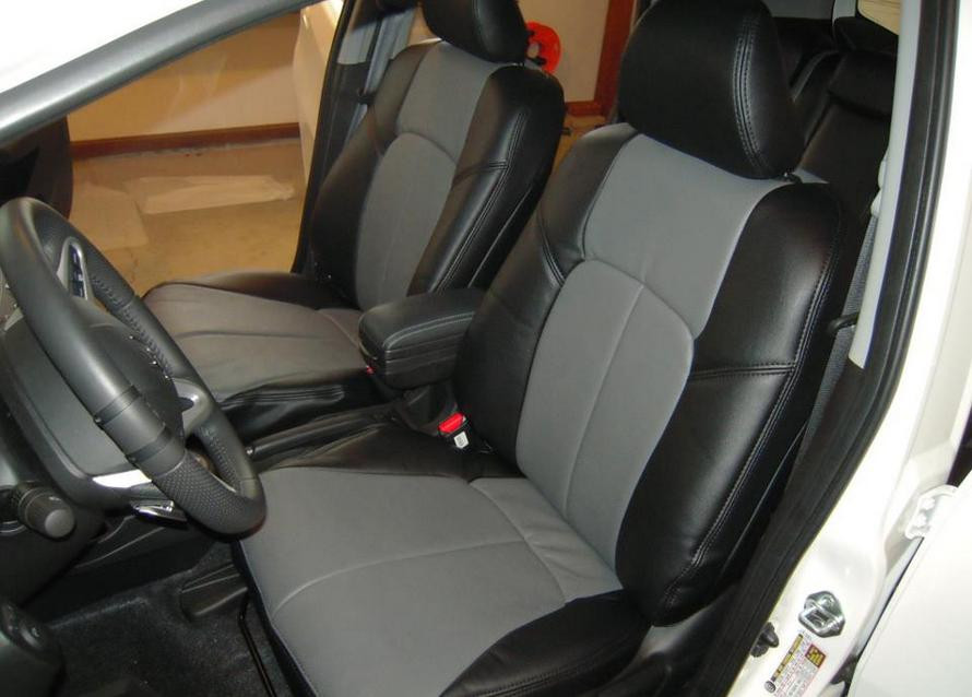 Clazzio 350012blkk Black Leather Front Row Seat Cover for Honda Fit