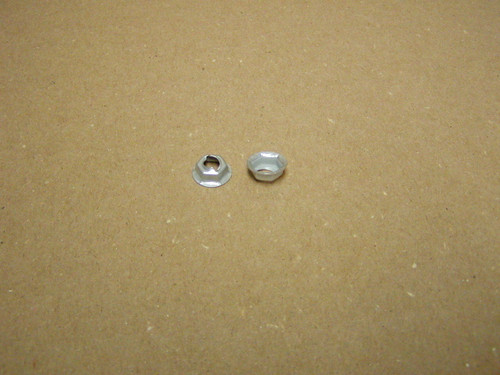 """Thread cutting nuts are found in multiple uses on the Dodge Trucks, Vans, Town Wagons, and Town Panels.  E2897 fit 1/4"""" Stud Size with 19/32 Washer O.D. and has 7/16"""" hex nut"""