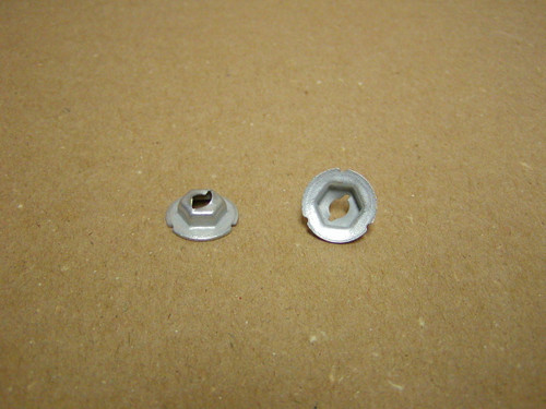 """Thread cutting nuts are found in multiple uses on the Dodge Trucks, Vans, Town Wagons, and Town Panels.  E2896 fits 3/16"""" Stud size with 5/8"""" Washer O.D. has a 3/8"""" Hex nut"""