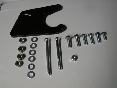Power Steering Pump bracket mounts as seen on previous page on the top of the water pump, comes with all mounting materials