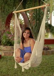 Sunnydaze Large Mayan Chair Hammock With Wood Bar - Natural