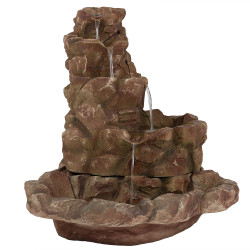 Sunnydaze Lighted Stone Springs Outdoor Fountain with LED Lilghts