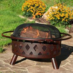 "Sunnydaze Bronze Crossweave Fire Pit, 30"" Diameter"