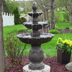Classic Tulip 3-Tier Fountain by Sunnydaze Decor - Dark Brown Finish