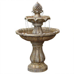 Sunnydaze Two Tier Solar with Battery Backup Outdoor Water Fountain, Earth Finish, 35 Inch Tall