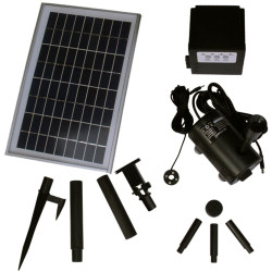 "Sunnydaze Solar Pump and Solar Panel Kit With Battery Pack and LED Light  - 80"" Head"