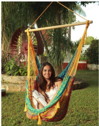 Sunnydaze Extra Large Mayan Chair Hammock With Wood Bar- MultiColor