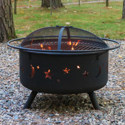 Sunnydaze Cosmic Fire Pit with Cooking Grill