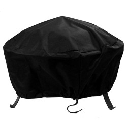 "Heavy Duty 80"" Black Round Fire Pit Cover"