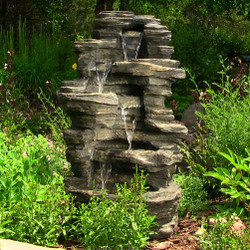 "Sunnydaze 39"" Rock Falls Fountain with LED Lights"