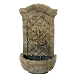 Sunnydaze Rosette Solar Wall Fountain, Florentine Stone, Solar Only Feature