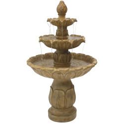 Classic Tulip 3-Tier Fountain by Sunnydaze Decor - Garden Stone Finish