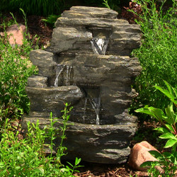 Sunnydaze 24 inch Rock Falls Fountain with LED Lights