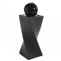 Sunnydaze Black Ball Solar with Battery Backup Outdoor Water Fountain with LED Light, Includes Battery Pack