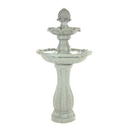 Sunnydaze 2-Tier Arcade Solar with Battery Backup Water Fountain with LED Light - Outdoor Water Feature with Rechargeable Solar Battery - White - 45-Inch