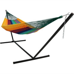 Sunnydaze Thick Cord XXL Hammock with Stand -MultiColor