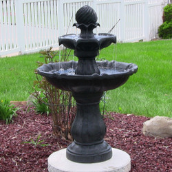 Sunnydaze 2-Tier Solar Outdoor Water Fountain with Battery Backup, Black Finish, 35 Inch Tall