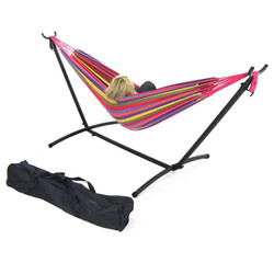 Sunnydaze Cotton Double Brazilian Hammock & Stand Combos- Tropical Sunset