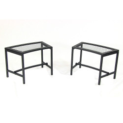 Black Mesh Patio Fire Pit Bench - 2 Benches