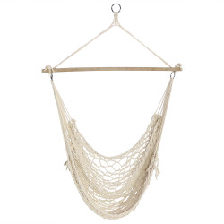 Cotton Rope Hammock Chair with Wood Bar By Sunnydaze Decor