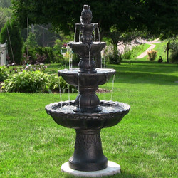 Sunnydaze Black 4-Tier Pineapple Fountain