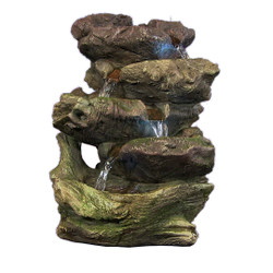 5-Step Rock Falls Tabletop Fountain w/LED Lights by Sunnydaze